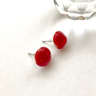Free shipping glass earrings Bonbon red