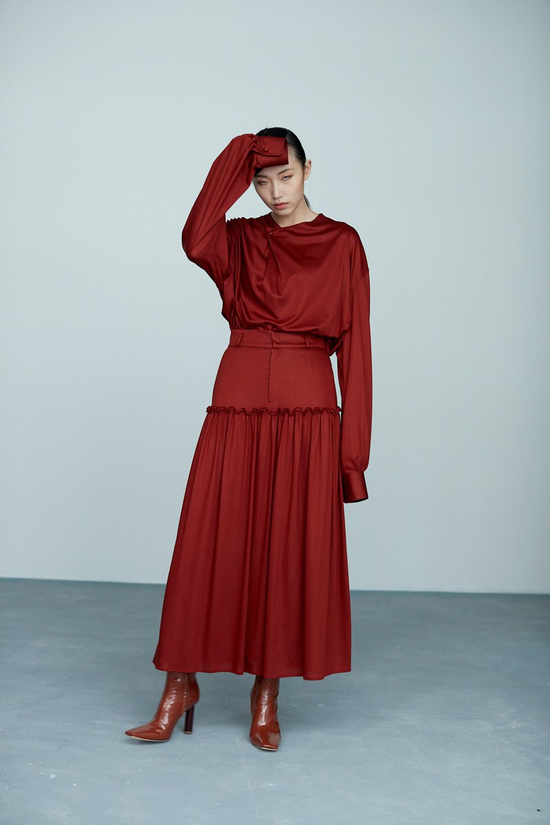 Red cut pleated dress