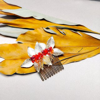 Wear a happy decoration of the gold series - the bride's hair comb. French comb. Wedding buffet - light