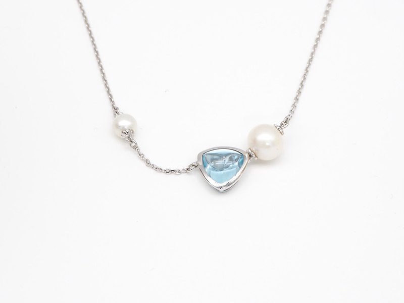 Spring Yang. Pure silver plated K gold. Necklace Necklace <blue topaz. Pearl>