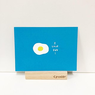Circular Round Face Man - Poached Egg Breakfast / Postcard