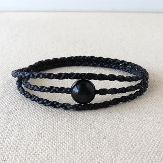 Sterling Silver ***Lucky stone obsidian silk wax wax bracelet**** Four strands of three rings ~ ~ anti-villain