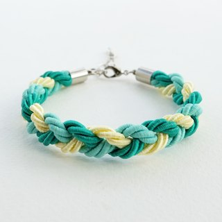 Green/Mint/Yellow braided bracelet