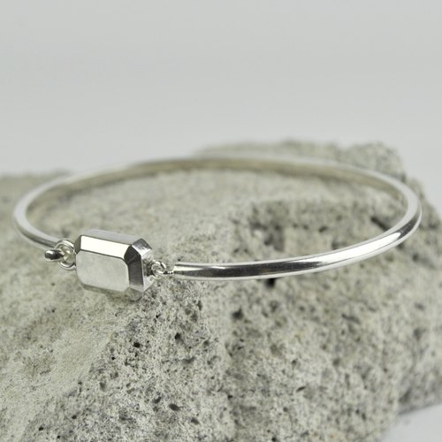 Sterling Silver Gemstone Shape Bangle