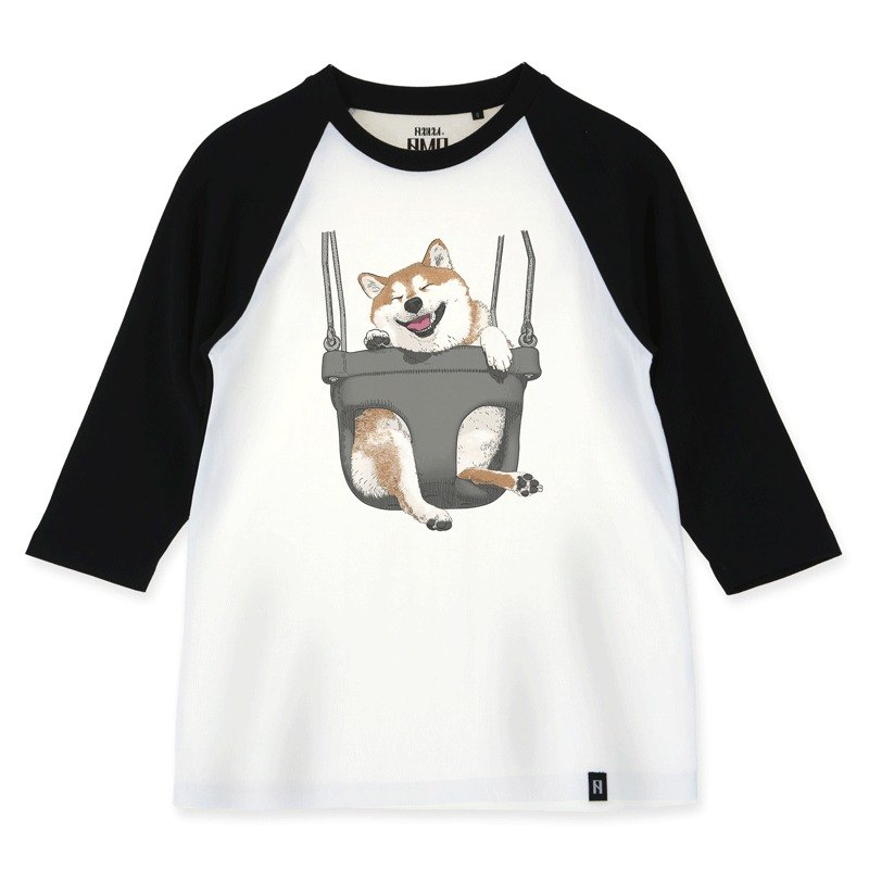 AMO Original  cotton adult 3/4 Raglan T-Shirt /AKE/The Shiba on the swing