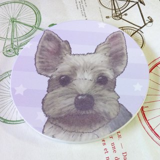 Customized (can add words) - Sketch Series ~ Yorkshire - Suction Cup Coaster ~ Ceramic Coaster