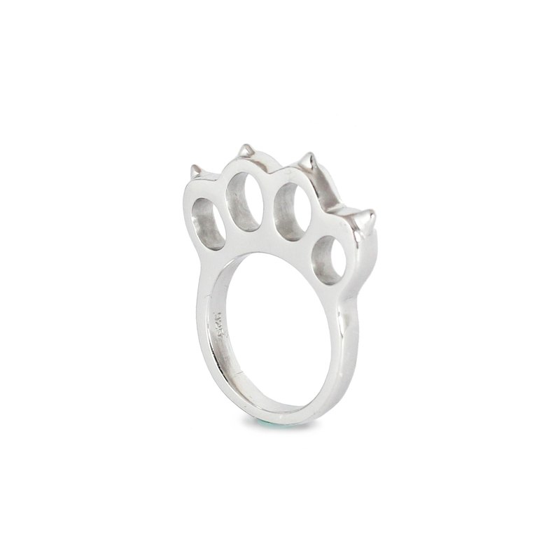 Bibi Fun Picks series - knuckles down cat - white / silver tail ring (mailed free transport)