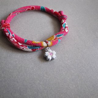 Japanese kimono dog collar & cat collar【Adjustable】Sakura pink & White Sakura Bell_S size