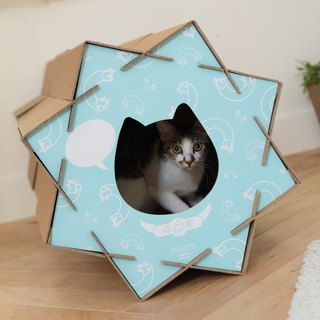 Meow meow billowing house [-] is healing blue cat house is toys, unlimited combination of fun cute cat scratch board design