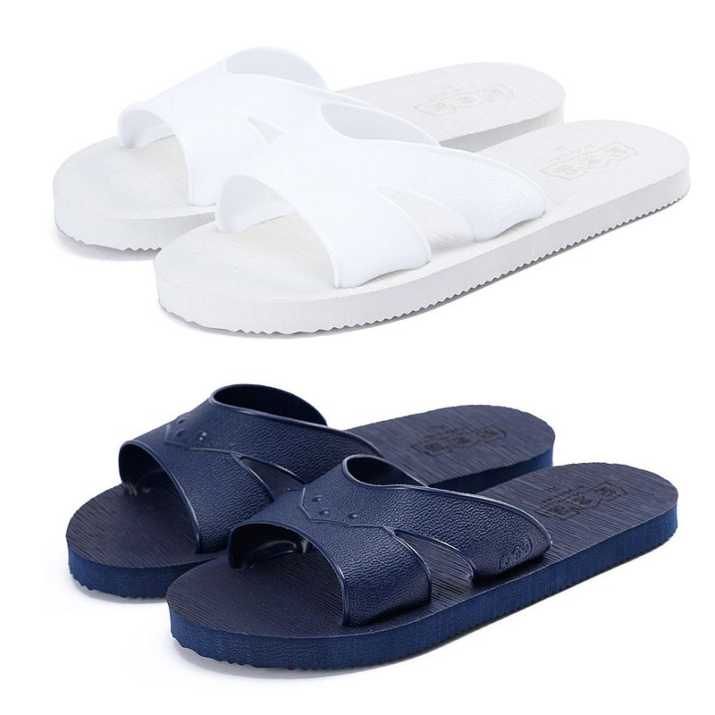 Souvenir slippers solid color blue and white tow (white dark blue)
