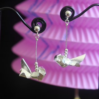Silver Origami Goldfish Lantern Earrings