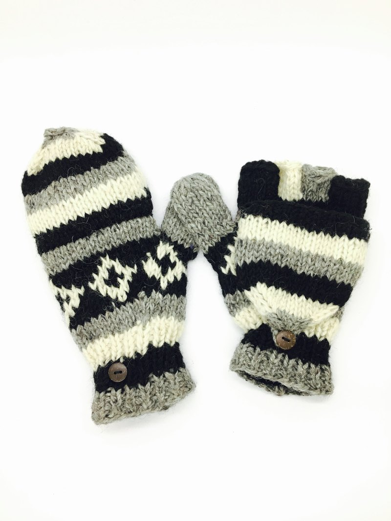 Nepal 100% wool hand-knitted pure wool thick gloves - Black x White x gray Nordic style