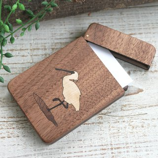 Wooden business card holder / walnut / Black-faced Spoonbill