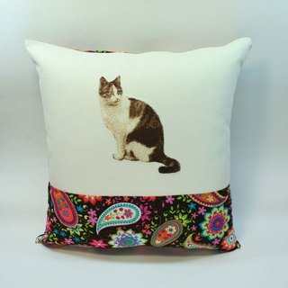 Big Cat embroidered pillow cover 05-