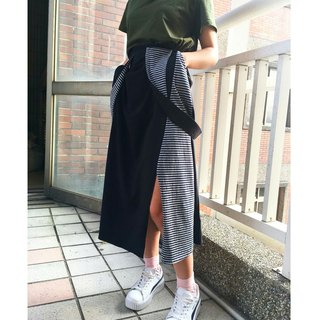 [Skirt] Strap stitching split skirt _ black fight blue gray stripes