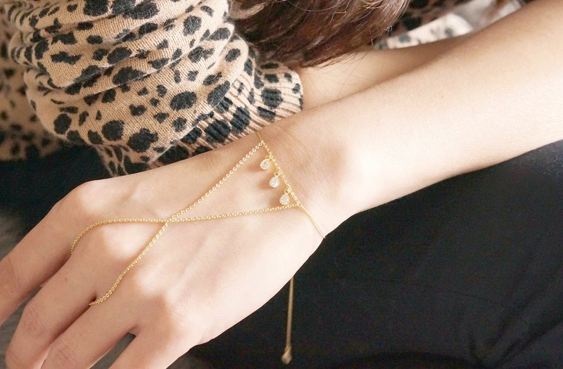 Adjustable Ring Bracelet, Hand Chain, -Teardrop OR Triangle-