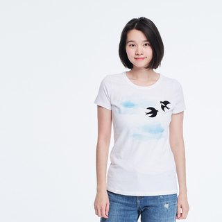 Flying swallow peach cotton T-shirt Women