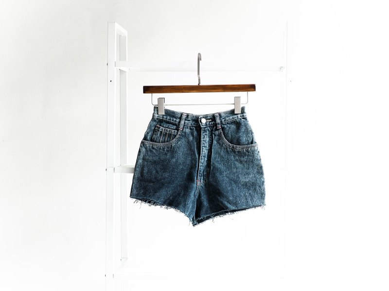W24 deep sea blue green snowflake rock girl cotton tannin antique shorts denim pants vintage