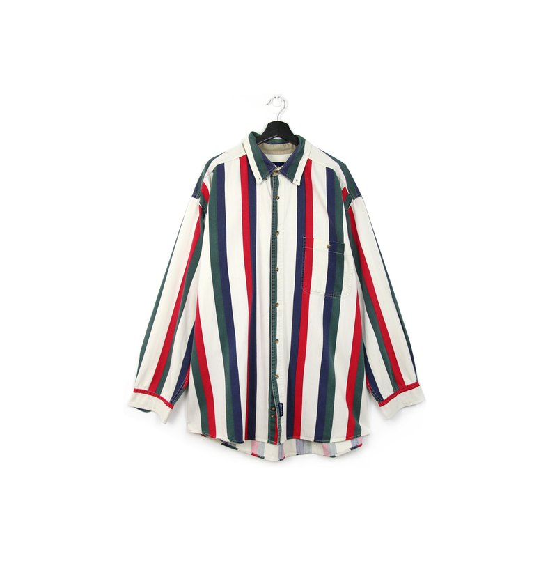 Back to Green:: striped denim shirt red blue green thick stripes / / vintage shirt
