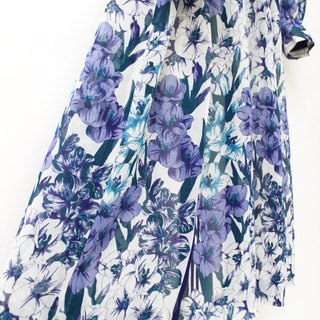 【RE1004D1443】 early autumn retro adults feel purple flowers long-sleeved ancient dress