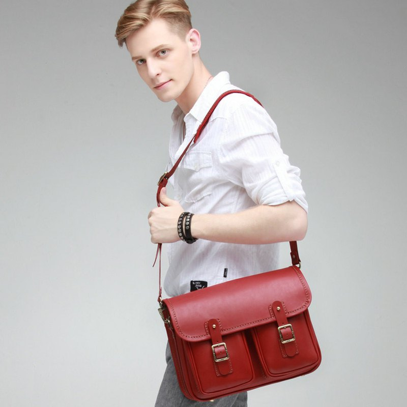 JIMMY RACING British retro leather Cambridge bag back - red 0502178