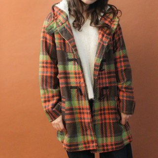 Vintage autumn and winter brown orange houndstooth hooded hooded horn buckle coat coat Vintage Outer