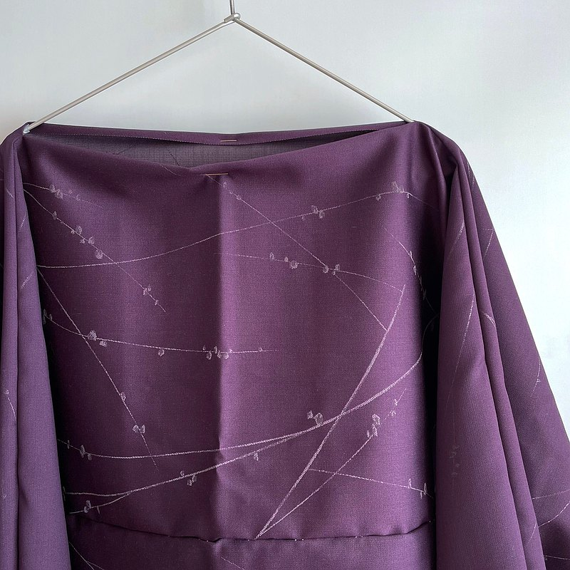 Only ONE | T-shaped 2way Bolero-Pullover -Silk-Wool, Purple, Blossom branches