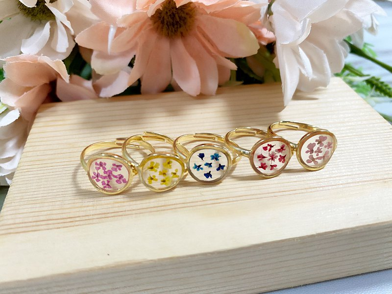 Real flower Pressed flower Queen Anne's Lace ring Copper with golden plated ring