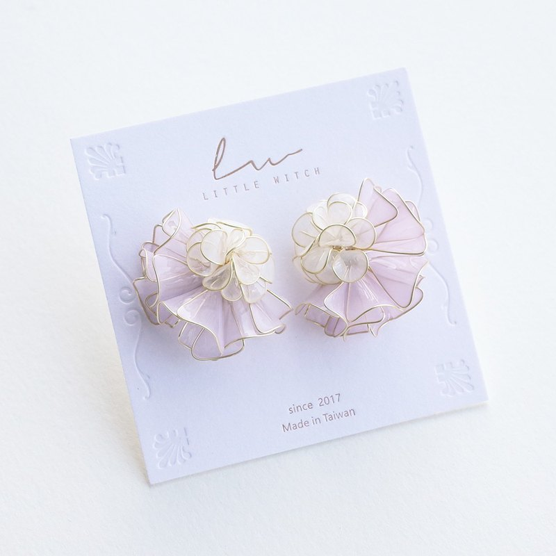 Big Princess Flower Collar Earrings - White Violet. Resin Crystal Flower Earrings / Ear Clips
