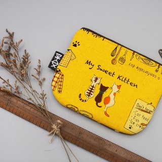 Ping Le Xiao Le Bao - cat's sweet kitchen (back section), feel cotton linen, small wallet