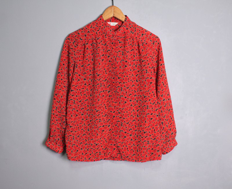 FOAK vintage red apple orchard stand collar shirt