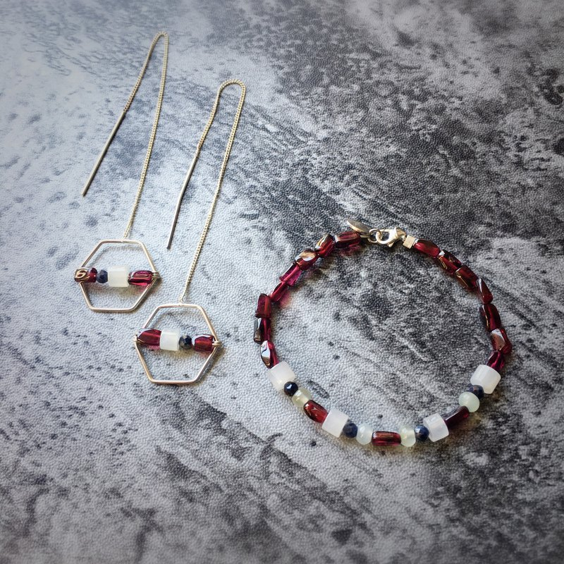 [Red wine in winter] - Natural ice jade + garnet sterling silver earrings