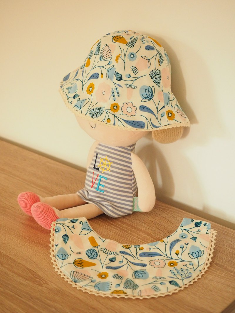 Handmade reversible blue floral hat and bib gift set