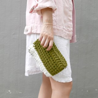 Duo Color Handbag, crochet, knit, handmade (Inked / Olive)