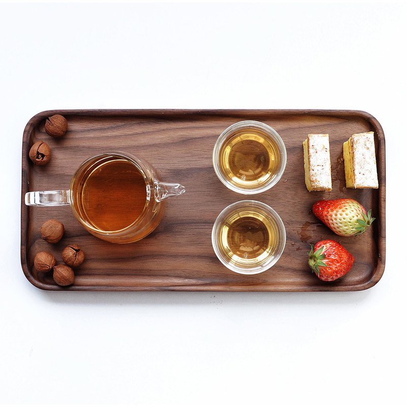 Weis poetry black walnut wood rectangular plate whole wood without stitching Japanese fruit plate tea tray tray tableware