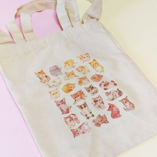 A4 straight portable diagonal back dual-use canvas bag - kittens (small amount of no brush)