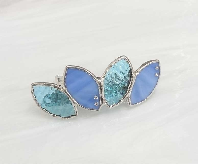 Stained glass made Valletta 【Leaf】 light blue