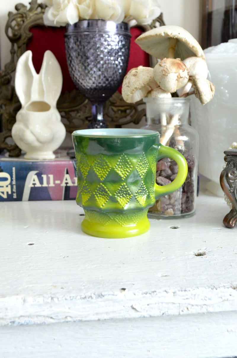 FIRE KING Green Green X Mustard Yellow Linger Coffee Cup 60's Antique Glassware MUG