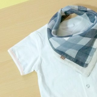 Baby Bib, Reversible Bandana Bib, Japanese Double Gauze Cotton, Gray Plaids