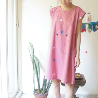 After raspberry pink pick sleeve lovely planet slits hand printed silk dress /
