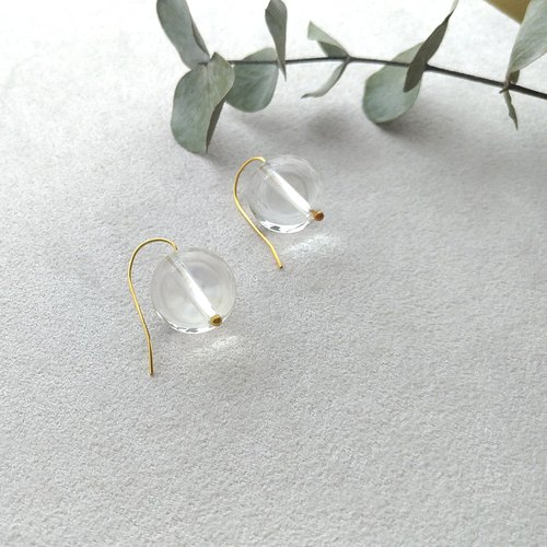 Transparent Candy - Brass Crystal Clip Style Earrings