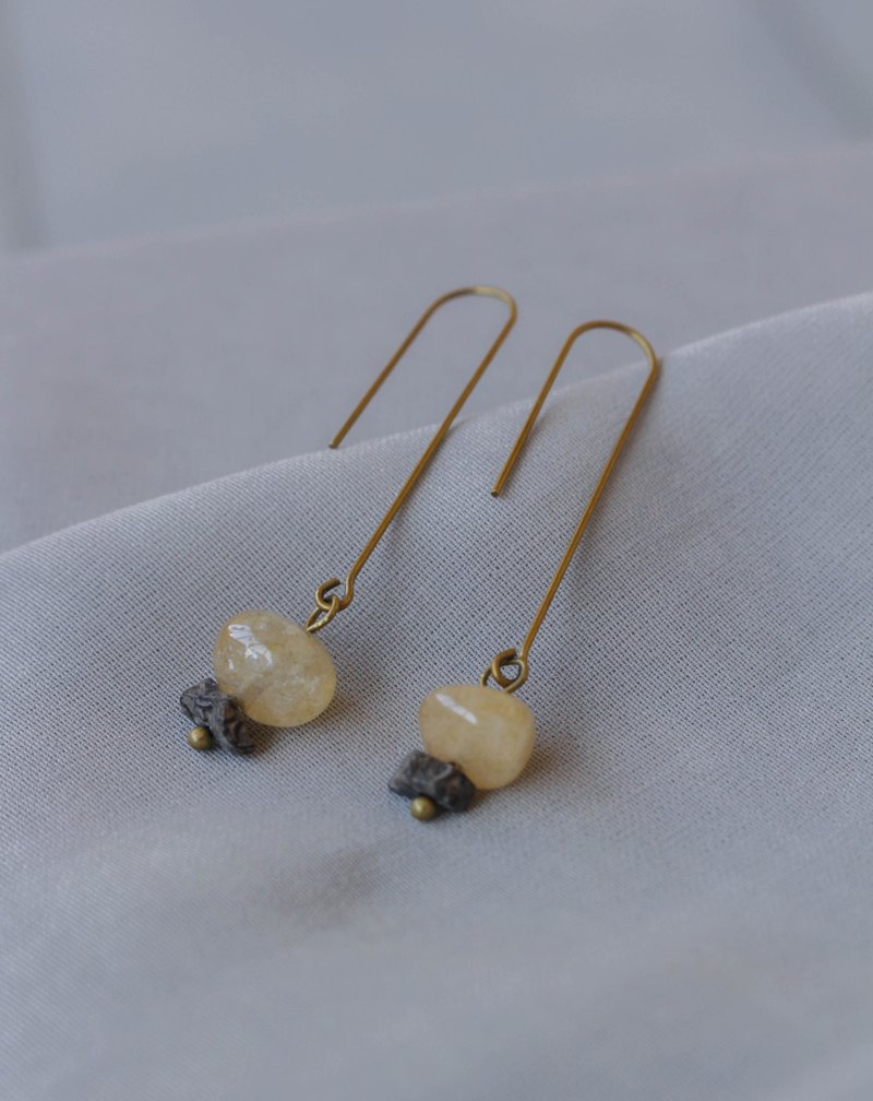 Light Particles-Citrine Project – Citrine Rubble – Original Copper Earrings