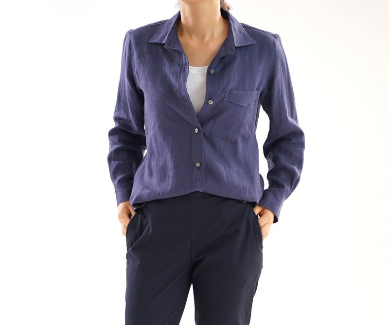 Linen authentic premium shirt / Navy t032b-neb1