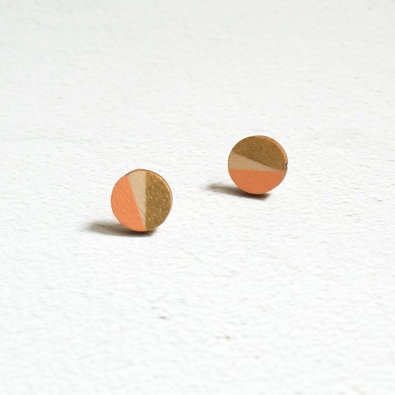 Earrings earrings ear clips wooden gold-plated geometric hand-painted round hand-made ornaments gift