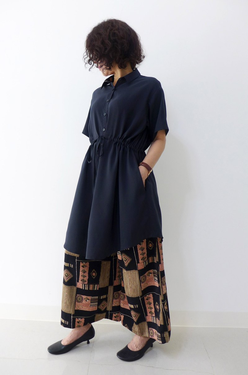 French shirt jacket three-in-one dress (big black)