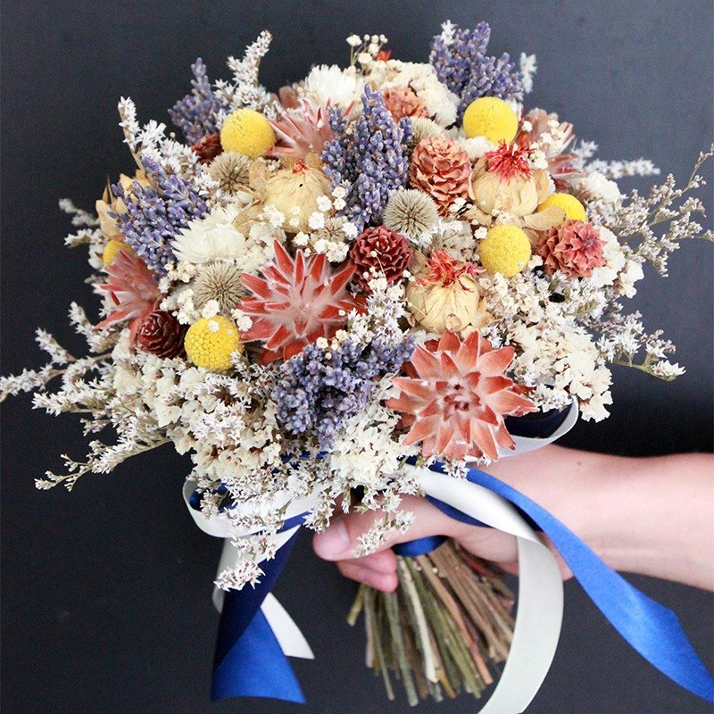 Flowers and flowers - yellow and blue dry bouquet of lavender dry bouquet wedding props