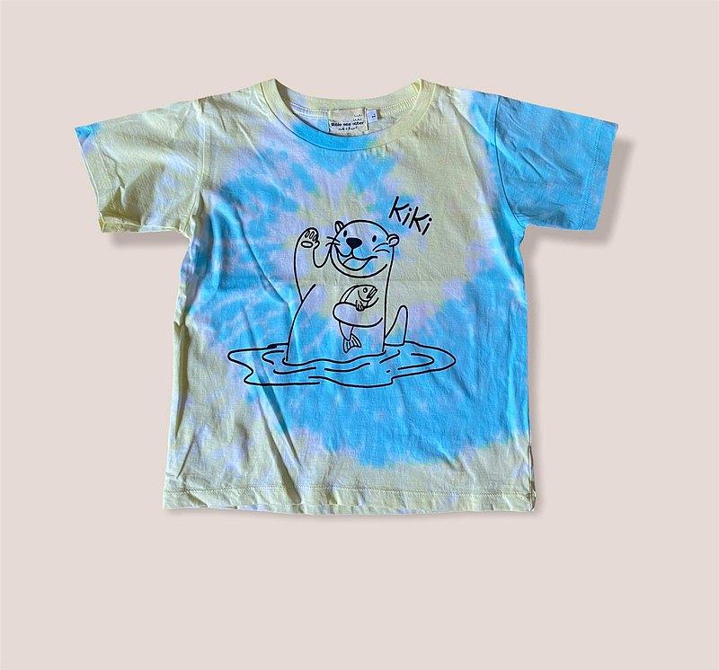 KiKi Otter黃色和藍色Tiedye兒童T卹
