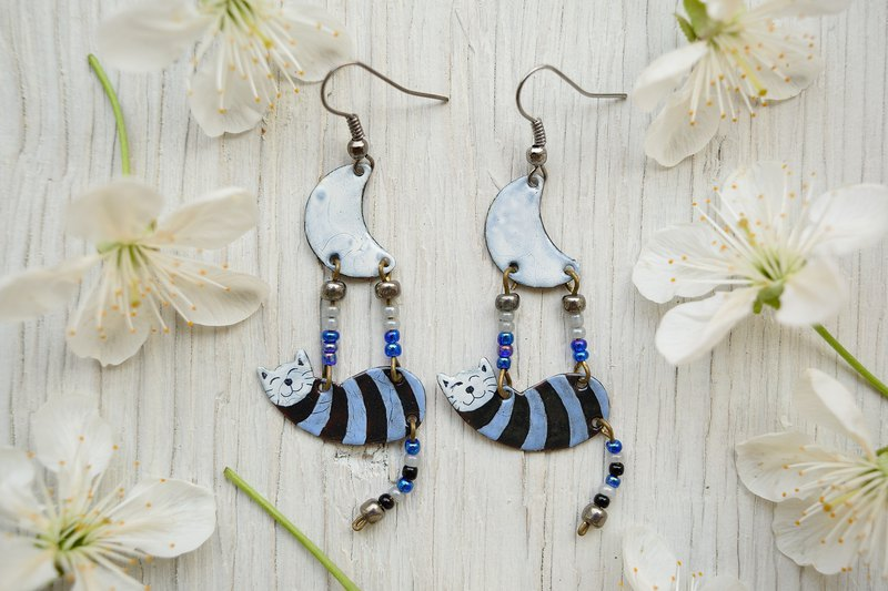 Enamel Earrings, Cat Earrings, Black Cat Jewelry, Cat And Moon, Moon Earrings