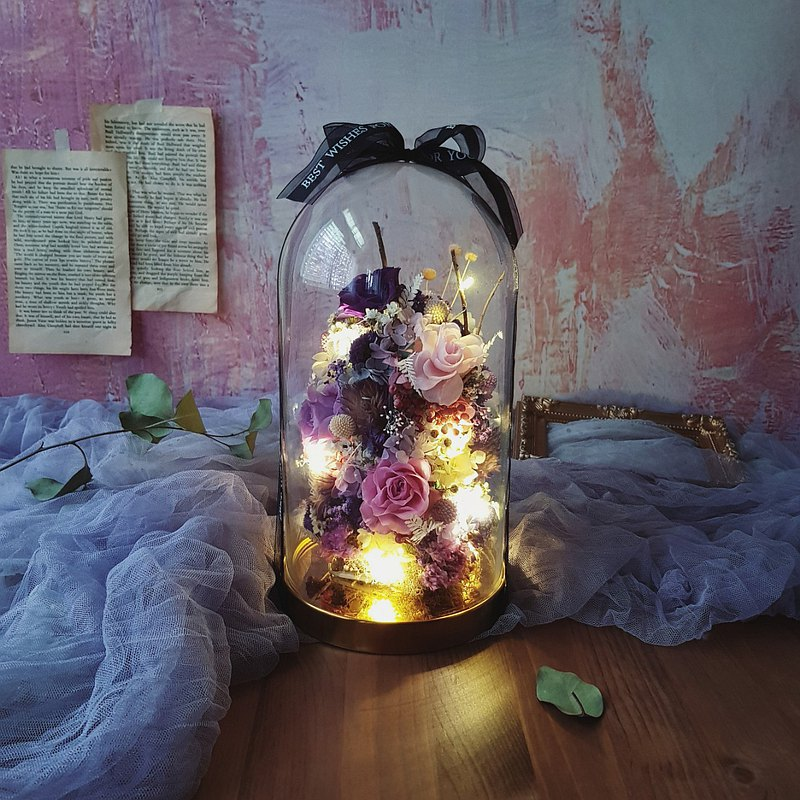 Full Preserved Flower|Glass Night Light Flower Bell_Valentine's Day Opening Wedding Gift Mother's Day Christmas