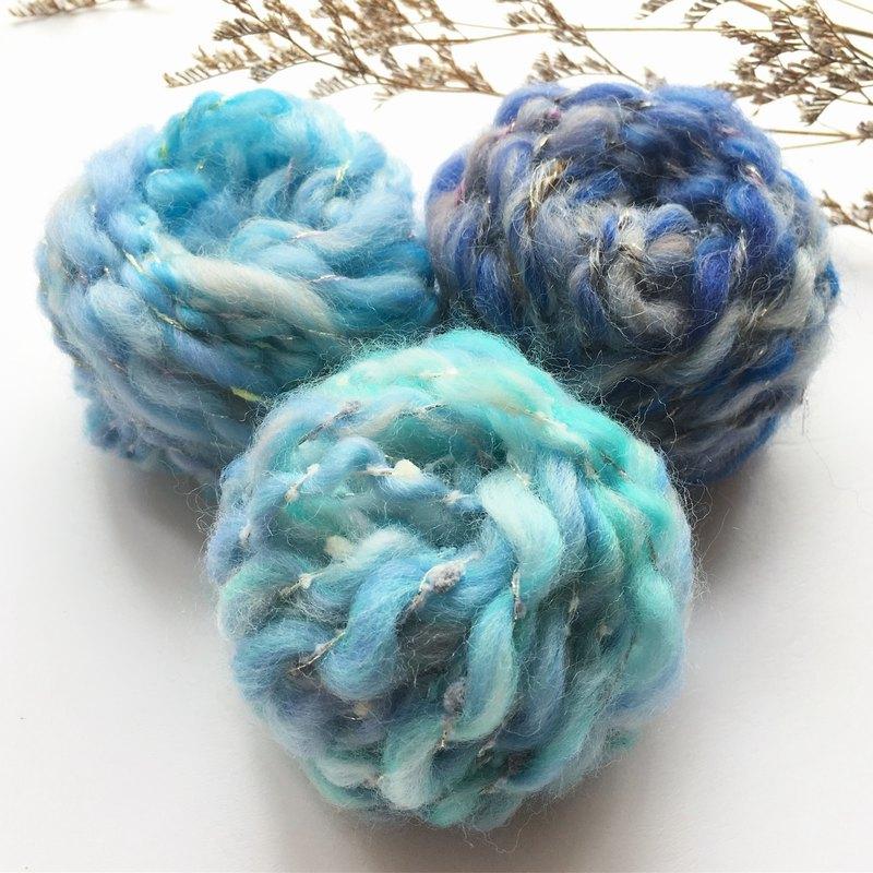 湖水藍DIY手捻線球包/手紡線/毛線/DIY材料/材料包/手作材料包